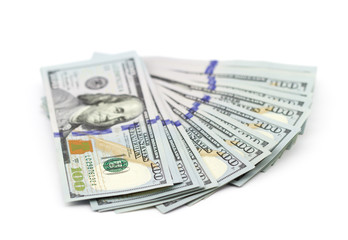 Fan of new one hundred dollar bills
