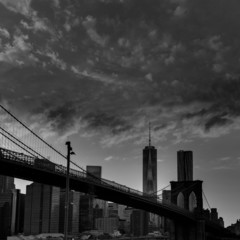 Brooklyn bridge and Manhattan skyline July 4th