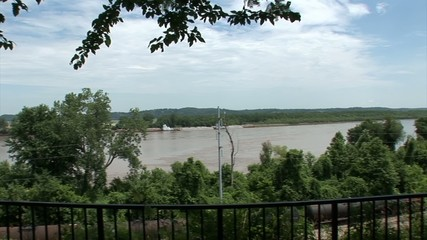 Pan shot of a huge river stream. Longest bicycle competition over United States of America - RAAM in 2009.