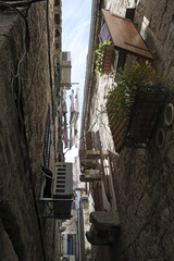 narrow street of the old town of Split, Croatia