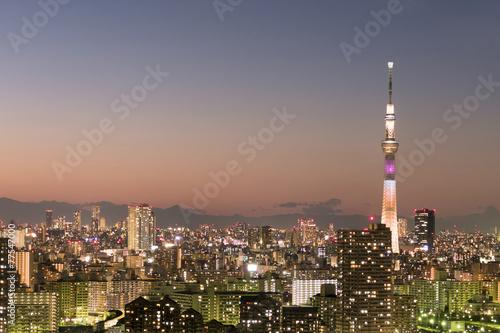 日没直後の東京スカイツリーライトアップと美しい東京都心全景