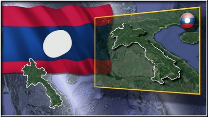 Laos flag and map animation