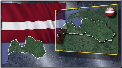 Latvia flag and map animation