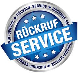 """Button Banner """"Rückrufservice"""" blau/silber"""