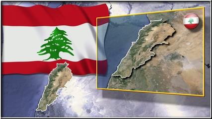 Lebanon flag and map animation