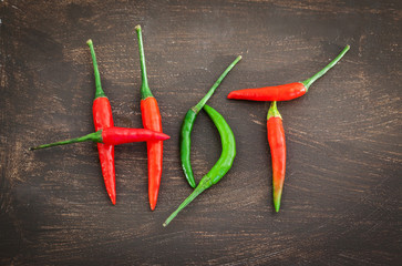 Hot word made from red and green chili pepper