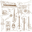 Set of isolated sketch musical instruments - 77548002