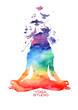 Watercolor woman silhouette of lotus yoga pose - 77548071