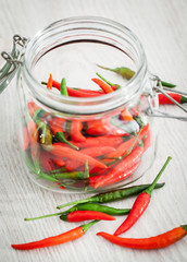 Red and green hot chili pepper