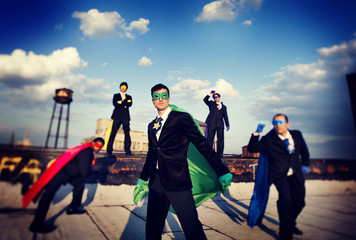 Superhero Business People Corporate Team Skyline Concept
