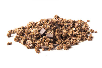 Muesli on white background
