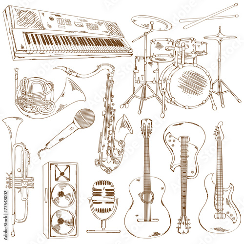 Set of isolated sketch musical instruments