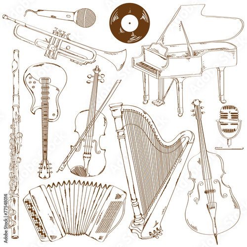 Set of isolated sketch musical instruments - 77548014
