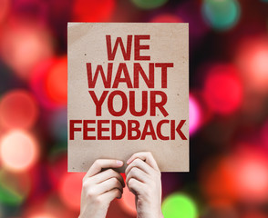 We Want Your Feedback card with colorful background