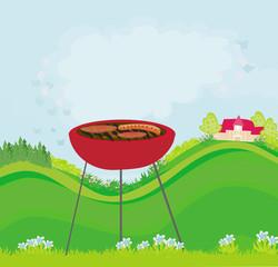 Illustration of backyard barbecue