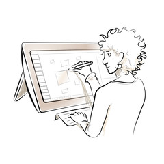 Illustrator working on tablet screen