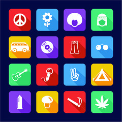 Hippie Icons Flat Design