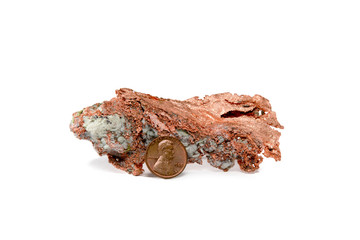 Isolated Copper Nugget and Copper Penny