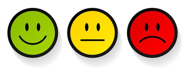3 Smileys Green/Yellow/Red Black Frame