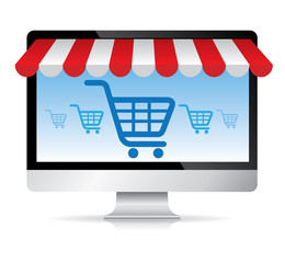Computer with awning and basket on line shop