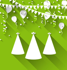 Holiday background with party hats, balloons, confetti, and hang