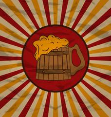 Vintage poster wooden mug beer