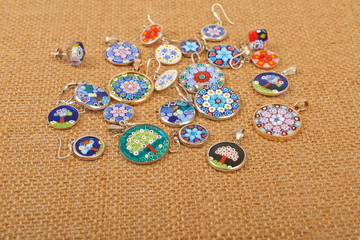 Murano glass jewelry pendants and earrings Venice on canvas