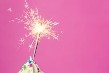 Sparkler on a cupcake