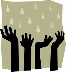 Raining on hands