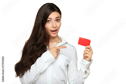 Young woman showing copy space on empty blank sign - 77553063