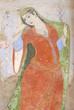 Fresco at the Ali Qapu palace in Isfahan, Iran. - 77553241