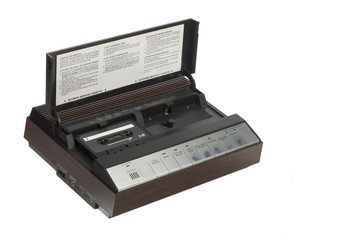 audio cassette inside a answering machine player