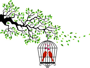 Tree silhouette with bird in a cage