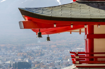 Chureito Peace Pagoda roof with japanese bell