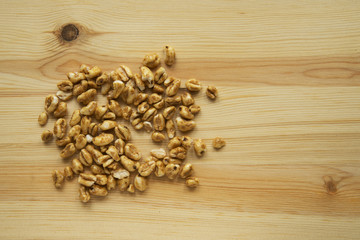 cereals on wooden cutting board