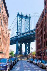 Manhattan Bridge at Brooklyn street New York US