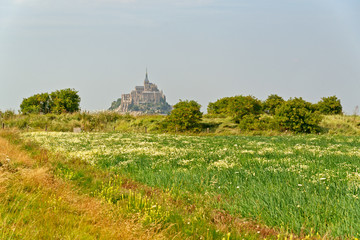 View across lush rural fields to Mont St Michel