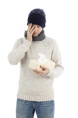 Sick man having a headache