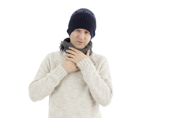 Man with a sore throat