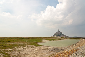 Coastal view of the island of Mont St Michel