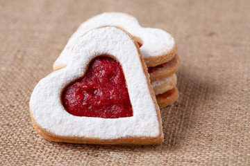 Heart shaped cookies for valentine's day on textile background