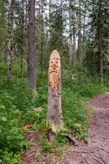 Фигура из дерева на лесной тропе