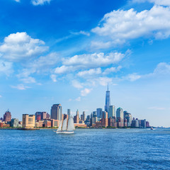 Manhattan skyline New York sunshine US