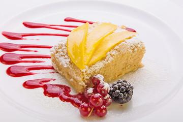 Napoleon cake with pear and mango