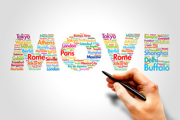 MOVE, cities names word cloud travel concept