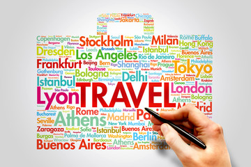 TRAVEL, cities names word cloud travel concept