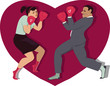 War of sexes. Man and woman boxing
