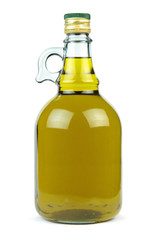 Extra virgin olive oil in a glass bottle isolated on white