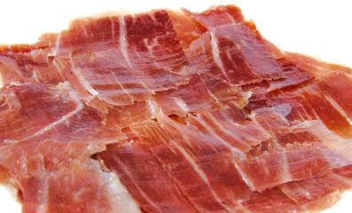 Closeup of spanish jabugo ham slices. Serrano ham