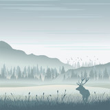 Wild moose in mountains